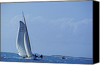 Motor Boats Canvas Prints - Sailboat Races In The Bahamas Canvas Print by Kenneth Garrett