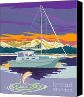 Trout Digital Art Canvas Prints - Sailboat Retro Canvas Print by Aloysius Patrimonio