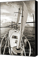 Beneteau Sailboat Canvas Prints - Sailboat Sailing Past Arthur Ravenel Jr Bridge Charleston SC Canvas Print by Dustin K Ryan