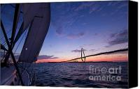 Beneteau Sailboat Canvas Prints - Sailboat Sailing Sunset on the Charleston Harbor  Canvas Print by Dustin K Ryan