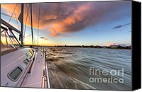 Charleston Sailboat Tours Canvas Prints - Sailboat Sunset Charleston Battery Canvas Print by Dustin K Ryan