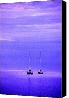 Door County Canvas Prints - Sailboats in Blue Canvas Print by Timothy Johnson