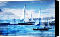 Sail Canvas Prints - Sailboats Canvas Print by MW Robbins