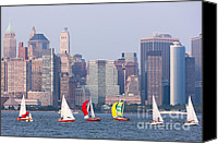 Boats Canvas Prints - Sailboats on the Hudson I Canvas Print by Clarence Holmes