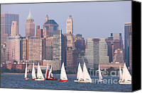 Boats Canvas Prints - Sailboats on the Hudson II Canvas Print by Clarence Holmes