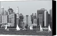 Boats Canvas Prints - Sailboats on the Hudson IV Canvas Print by Clarence Holmes
