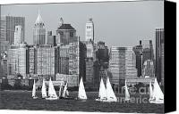 Boats Canvas Prints - Sailboats on the Hudson V Canvas Print by Clarence Holmes