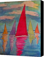Transportation Tapestries - Textiles Canvas Prints - Sailboats Canvas Print by Yvonne Feavearyear