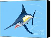 Fish Canvas Prints - Sailfish Diving Canvas Print by Aloysius Patrimonio