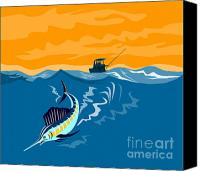 Fish Jumping Canvas Prints - Sailfish Fish Jumping Retro Canvas Print by Aloysius Patrimonio