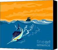 Fish Jumping Canvas Prints - Sailfish fishing boat Canvas Print by Aloysius Patrimonio