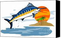 Fish Jumping Canvas Prints - Sailfish Island Canvas Print by Aloysius Patrimonio