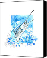 Florida Mixed Media Canvas Prints - Sailfish Leap Canvas Print by Amber M  Moran