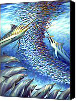 Guy Harvey Canvas Prints - Sailfish Plunders Baitball I - Marlin and Dolphin Canvas Print by Nancy Tilles