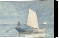 Sailboats Canvas Prints - Sailing a Dory Canvas Print by Winslow Homer