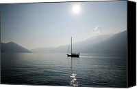 Lens Canvas Prints - Sailing Boat In Alpine Lake Canvas Print by Mats Silvan