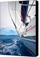 Sail Boat Canvas Prints - Sailing BVI Canvas Print by Adam Romanowicz