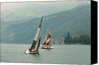 Village Canvas Prints - Sailing on Lake Thun Switzerland Canvas Print by Marilyn Dunlap
