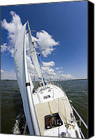 Beneteau Sailboat Canvas Prints - Sailing on the Charlesotn Harbor Beneteau Sailboat Canvas Print by Dustin K Ryan