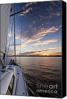 Charleston Sailboat Tours Canvas Prints - Sailing on the Charleston Harbor During Sunset Canvas Print by Dustin K Ryan
