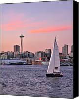 Seattle Waterfront Canvas Prints - Sailing Puget Sound Canvas Print by Adam Romanowicz