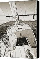 Beneteau Sailboat Canvas Prints - Sailing Sailboat Charleston SC Bridge Canvas Print by Dustin K Ryan