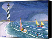 Winter Prints Painting Canvas Prints - Sailing Snowmen Canvas Print by Thomas Griffin