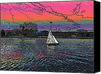 Pink Clouds Digital Art Canvas Prints - Sailing South Lake Union Canvas Print by Tim Allen