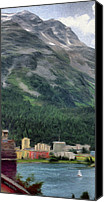 Swiss Canvas Prints - Sailing St Moritz Canvas Print by Jeff Kolker