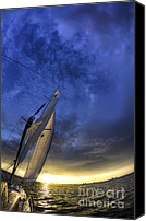 Beneteau Sailboat Canvas Prints - Sailing Sunset Beneteau 49 Yacht Canvas Print by Dustin K Ryan