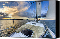 Charleston Sailboat Tours Canvas Prints - Sailing Sunset Charleston SC Canvas Print by Dustin K Ryan