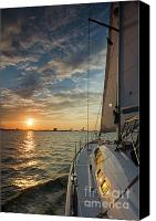 Beneteau Sailboat Canvas Prints - Sailing Sunset on the Charleston Harbor Beneteau 49 Canvas Print by Dustin K Ryan