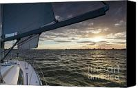 Beneteau Sailboat Canvas Prints - Sailing Sunset on the Charleston Harbor Canvas Print by Dustin K Ryan