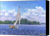 Cloud Canvas Prints - Sailing the Reach Canvas Print by Richard De Wolfe