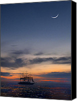 Ocean Scene Canvas Prints - Sailing to the Moon Canvas Print by Mike McGlothlen
