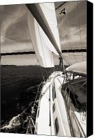 Charleston Sailboat Tours Canvas Prints - Sailing Under the Arthur Ravenel Jr. Bridge in Charleston SC Canvas Print by Dustin K Ryan