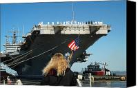 American Flags Canvas Prints - Sailors Aboard Aircraft Carrier Uss Canvas Print by Stocktrek Images
