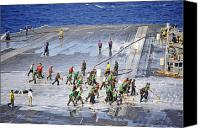 Responsibility Canvas Prints - Sailors Perform A Flight Deck Wash Canvas Print by Stocktrek Images