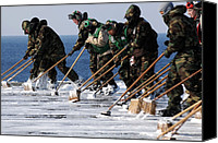 Bswh Canvas Prints - Sailors Scrub The Flight Deck Canvas Print by Everett