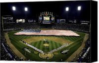 White Sox Canvas Prints - Sailors Unfurl The Stars And Stripes Canvas Print by Stocktrek Images