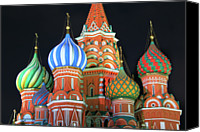 Destinations Canvas Prints - Saint Basils Cathedral On Red Square, Moscow Canvas Print by Lars Ruecker