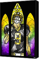 Football Canvas Prints - Saint Brees Canvas Print by Mandie Manzano