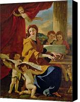 Putti Painting Canvas Prints - Saint Cecilia Canvas Print by Nicolas Poussin
