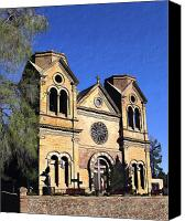 Santa Fe Digital Art Canvas Prints - Saint Francis Cathedral Santa Fe Canvas Print by Kurt Van Wagner