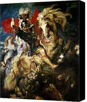 Monster Painting Canvas Prints - Saint George and the Dragon Canvas Print by Peter Paul Rubens