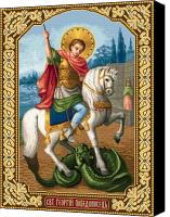 Icon Tapestries - Textiles Canvas Prints - Saint George Victory Bringer Canvas Print by Stoyanka Ivanova