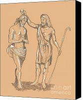 Cane Canvas Prints - Saint John the baptist Canvas Print by Aloysius Patrimonio
