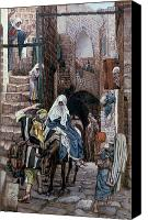 Donkey Painting Canvas Prints - Saint Joseph Seeks Lodging in Bethlehem Canvas Print by Tissot