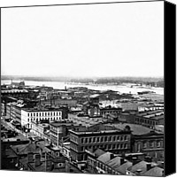 Saint Louis Canvas Prints - Saint Louis Missouri - Aerial view of commercial district - c 1860s Canvas Print by International  Images