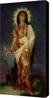 Margaret Canvas Prints - Saint Margaret Slaying the Dragon Canvas Print by Antoine Auguste Ernest Herbert
